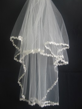 Smart Elbow Wedding Bridal Veil with Applique Edge
