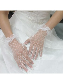 Elegant Transparent Yarn Lace Gloves
