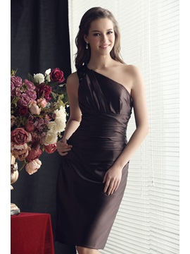 Faddish Ruched Sheath/Column Knee-length One-Shoulder Sandra's Bridesmaid Dress & Bridesmaid Dresses under 300