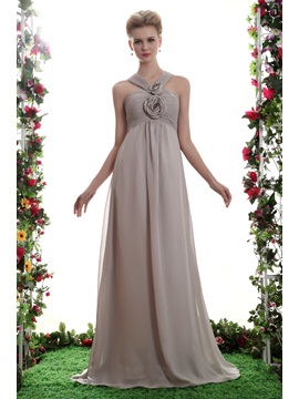 Charming Flowers Pleats A-Line V-Neck Floor-Length Yana's Bridesmaid Dress & Bridesmaid Dresses under 300