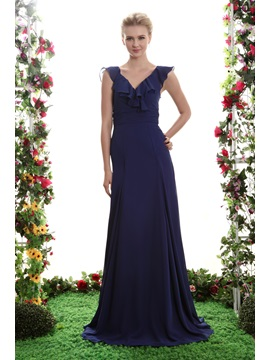 Sexy A-Line Floor-Length V-Neck Yana's Bridesmaid Dress & Bridesmaid Dresses for less