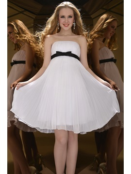 A-Line Strapless Bowknot Ruffles Knee-Length Homecoming Dress & Bridesmaid Dresses 2012