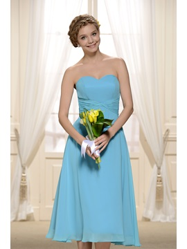 Cheap Knee Length Light Blue Bridesmaid Dress & Bridesmaid Dresses under 300
