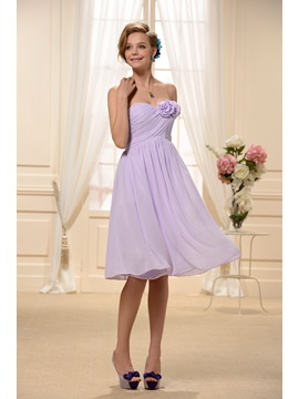Pure Strapless Flowers Ruched A-Line Knee-length Bridesmaid/Homecoming Dress & vintage Bridesmaid Dresses