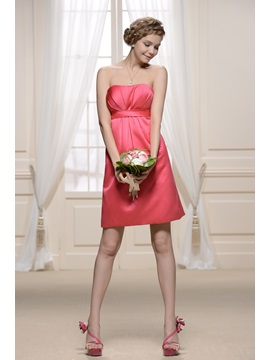 Attractive Strapless Pleats Sheath Knee-length Bridesmaid Dress & Bridesmaid Dresses from china