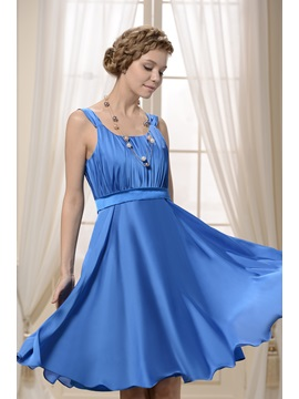 A-Line Scoop Neckline Straps Ruffles Knee-length Bridesmaid/Homecoming Dress & Bridesmaid Dresses under 500