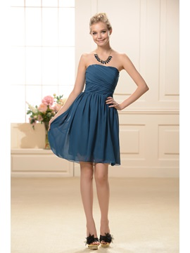 Simple Style Strapless Short A-Line Ruched Bridesmaid Dress & Bridesmaid Dresses under 500