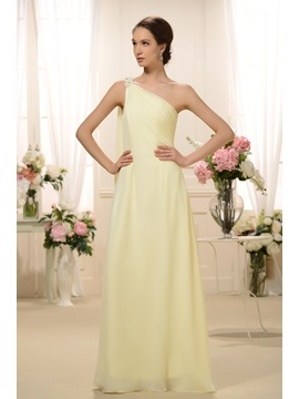 Enchanting Sashes Beaded Column Floor-Length One-Shoulder Bridesmaid Dress & modern Bridesmaid Dresses