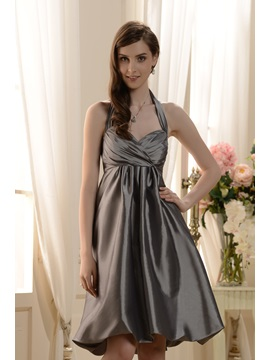 Delicate Ruched A-Line Halter Knee-Length Bridesmaid Dress & Bridesmaid Dresses under 100
