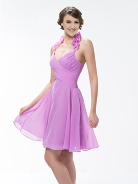 Pure Color Knee-Length Ruched Halter A-Line Bridesmaid/Homecoming Dress & casual Bridesmaid Dresses