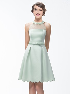A-Line Short Zipper-Up Scoop Neck Bridesmaid Dress & Bridesmaid Dresses under 300