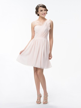 Cute One Shoulder A Line Ruched Short/Mini Ruffles Bridesmaid/Homecoming Dress & Bridesmaid Dresses on sale