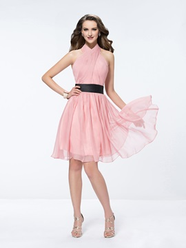 Knee-Length A-Line with Belt Ruffles Halter Bridesmaid Dress & Bridesmaid Dresses under 300