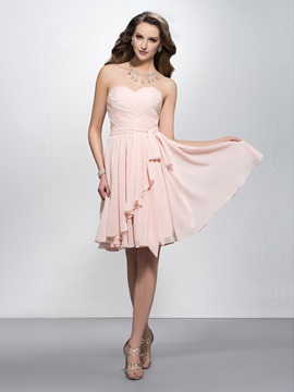 Simple Sweetheart Pleats Knee-Length Bridesmaid Dress