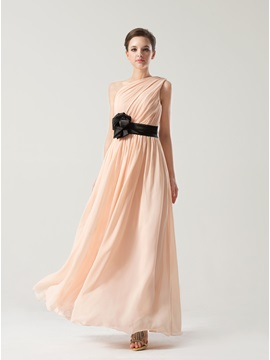 Simple Style Floor Length A-Line Chiffon One Shoulder Bridesmaid Dress & Bridesmaid Dresses on sale