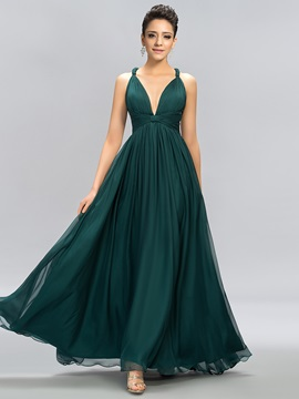Classic V-Neck Straps A-Line Evening Dress Designed & modest Bridesmaid Dresses