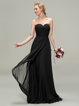 Strapless Sweetheart Zipper-Up Black Bridesmaid Dress & quality Bridesmaid Dresses