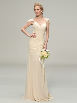 Eye-catching V-Neck Cap Sleeve Sheath Long Bridesmaid Dress & Bridesmaid Dresses under 500