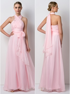 Pleated Sashes Convertible Bridesmaid Dress