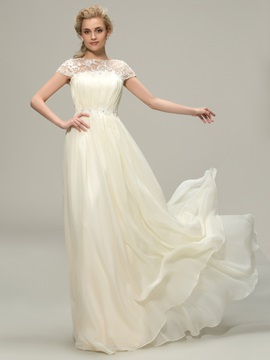 Floor Length A-Line Lace Bateau Neck Short Sleeve Bridesmaid Dress & Bridesmaid Dresses from china