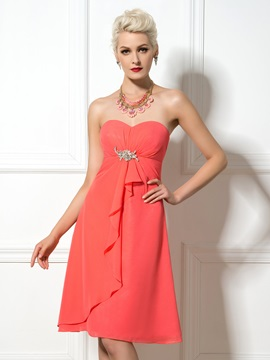 Knee Length A-Line Sweetheart Watermelon Chiffon Bridesmaid Dress & Bridesmaid Dresses for sale