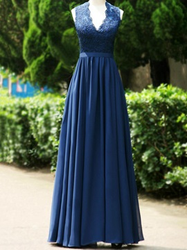 Floor-Length V-Neck Lace Open Back Long Bridesmaid Dress & Bridesmaid Dresses under 300