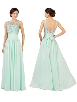 Bateau Beading Backless Chiffon Long Bridesmaid Dress & Bridesmaid Dresses under 100