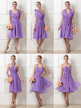 Convertible Purple A-Line Chiffon Knee-Length Short Bridesmaid Dress & colored Bridesmaid Dresses
