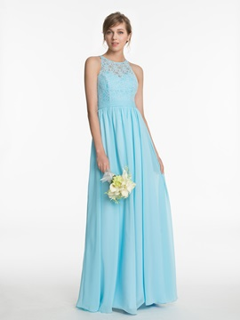 Halter Lace A Line Long Bridesmaid Dress & Bridesmaid Dresses under 500