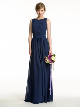 Cheap Ruched Scoop Neck Open Back Bridesmaid Dress & romantic Bridesmaid Dresses
