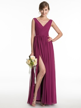 Simple V Neck Split Front Long Chiffon Bridesmaid Dress & colored Bridesmaid Dresses