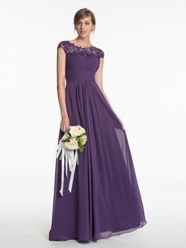 Fancy Cap Sleeves Long Bridesmaid Dress with Beaded Appliques & petite Bridesmaid Dresses