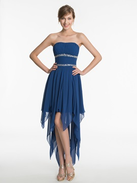 Strapless Beading High Low Bridesmaid Dress & Bridesmaid Dresses under 500