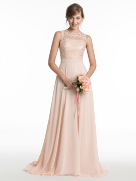 Beautiful Lace A Line Long Bridesmaid Dress & modest Bridesmaid Dresses