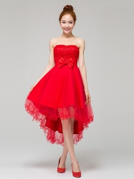 Cheap Red Tulle Asymmetry Bridesmaid Dress & fairy Bridesmaid Dresses