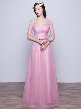 V Neck A Line Long Bridesmaid Dress & modest Bridesmaid Dresses