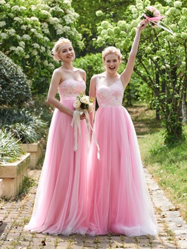 High Quality V Neck Lace A Line Long Bridesmaid Dress & elegant Bridesmaid Dresses