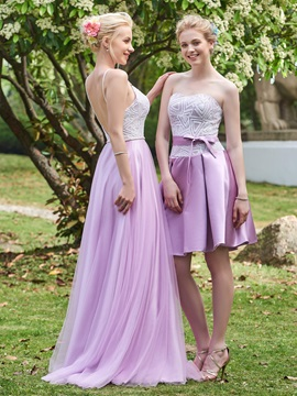 High Quality Strapless Sequins A Line Short Bridesmaid Dress & Bridesmaid Dresses under 500