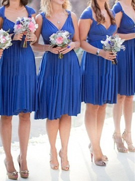 V Neck Pleats Knee Length Bridesmaid Dress