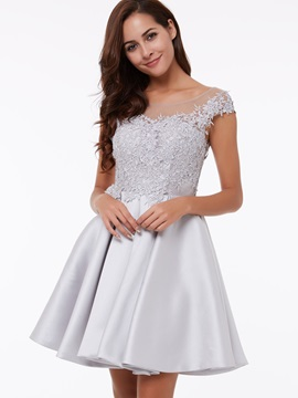 Sheer Neck Cap Sleeves Appliques Short Homecoming Dress & colored Bridesmaid Dresses