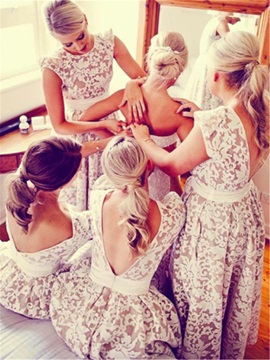 Beautiful High Low Backless Lace Bridesmaid Dress & Bridesmaid Dresses 2012