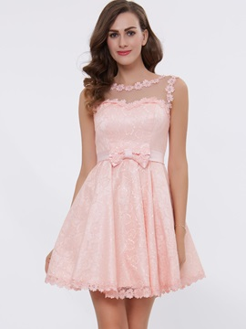 A-Line Straps Appliques Bowknot Lace-Up Short Homecoming Dress & elegant Bridesmaid Dresses