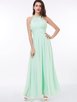 Halter A-Line Pearls Pleats Long Prom Dress & simple Bridesmaid Dresses