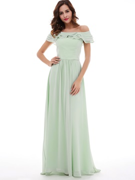 Delicate Off-The-Shoulder Chiffon A-Line Long Prom Dress & colored Bridesmaid Dresses
