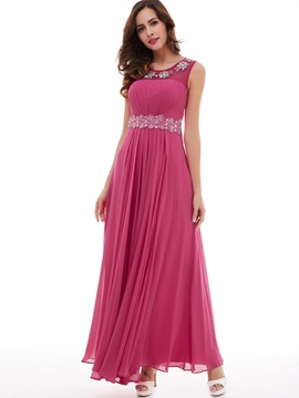 Pretty Beading Appliques Pleated Chiffon A-Line Prom Dress