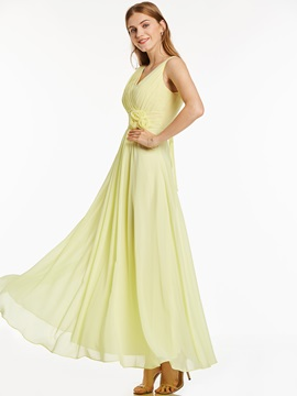 Concise V-Neck Lace-Up Flowers A-Line Long Evening Dress & colored Bridesmaid Dresses