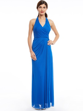 Halter Neck Pleats Sheath Long Evening Dress & informal Bridesmaid Dresses