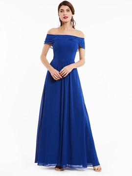 Concise A-Line Ruffles Off-the-Shoulder Zipper-Up Evening Dress & Bridesmaid Dresses for sale