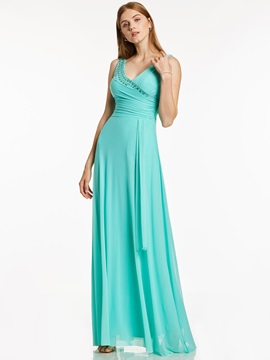 Fancy V Neck Zipper-Up Beaded Pleats A Line Evening Dress