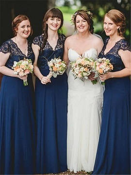 Graceful V-Neck Cap Sleeve Lace Bridesmaid Dress & Bridesmaid Dresses on sale